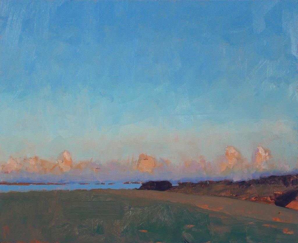 evening to the east oil painting of landscape by artist tutor Tom Rickman at School of painting