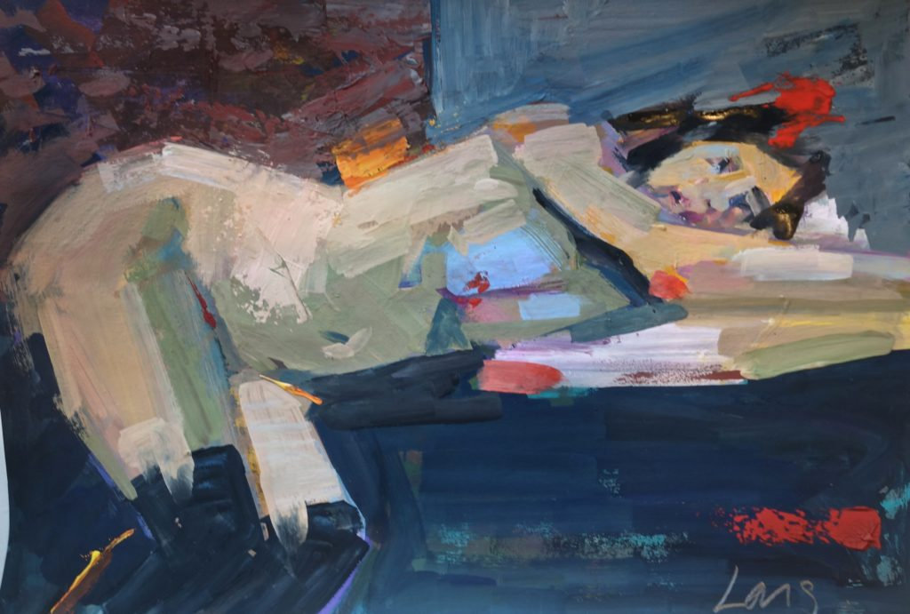 oil painting of figure laying down by artist Gary Long St Ives art course