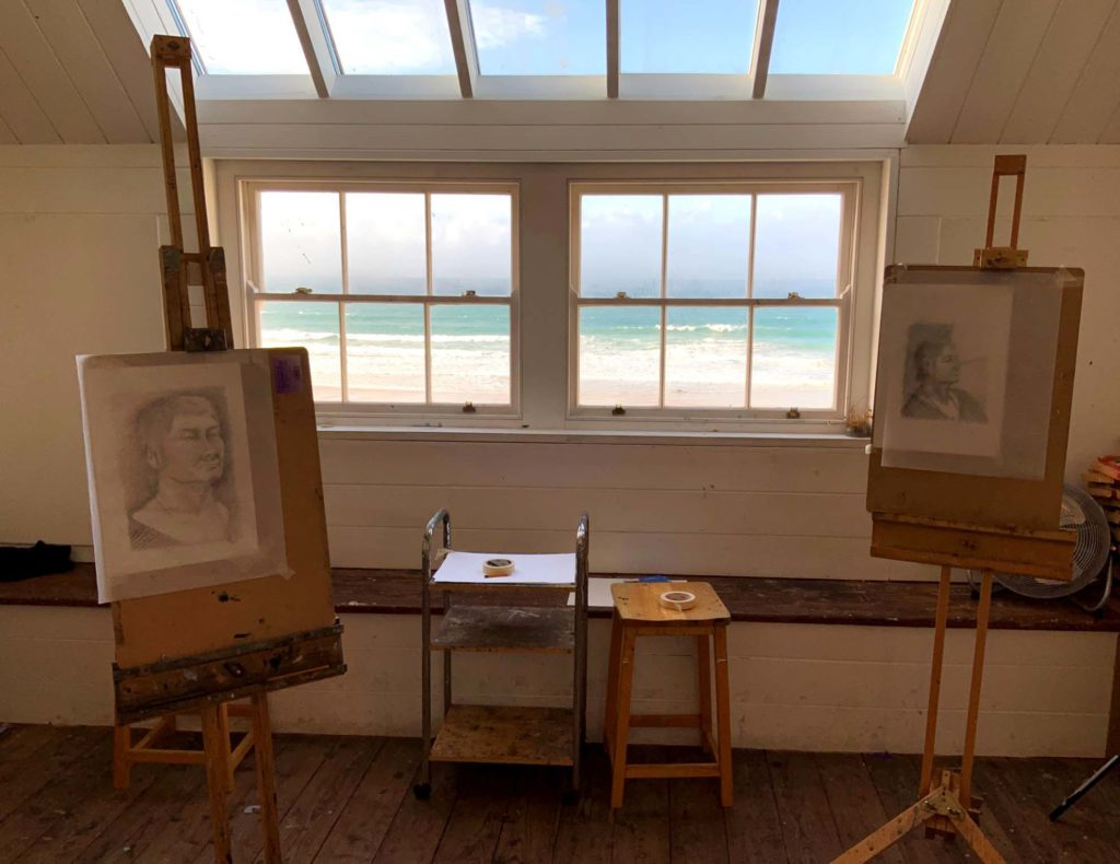 three day portrait art course with artist Ashley Hold in studio overlooking the sea