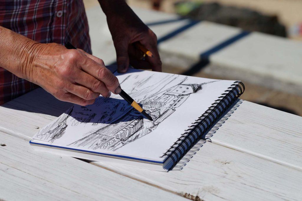 drawing in sketchbook St Ives landscape course