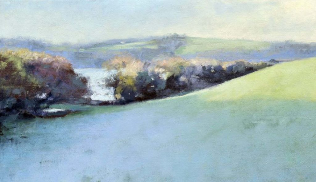 oil painting of hedgerow by artist Andrew Barrowman