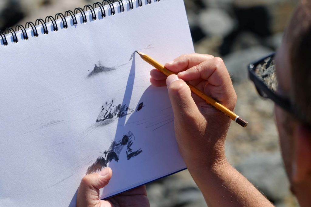 drawing St Ives landscape en plein air cornwall