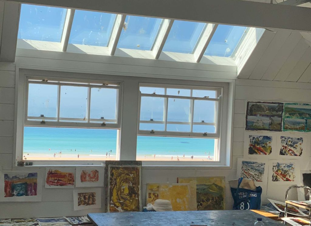 mixed media art course creating abstract seascapes overlooking porthmeor beach
