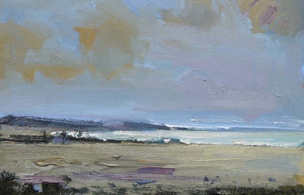 painting St Ives landscape with a palette knife in oil paint