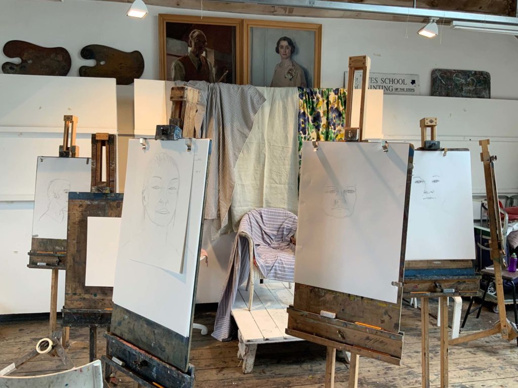 drawing portrait in famous artist studio using easels in st ives