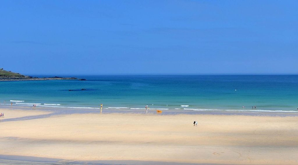 view of porthmeor beach landscape in St Ives