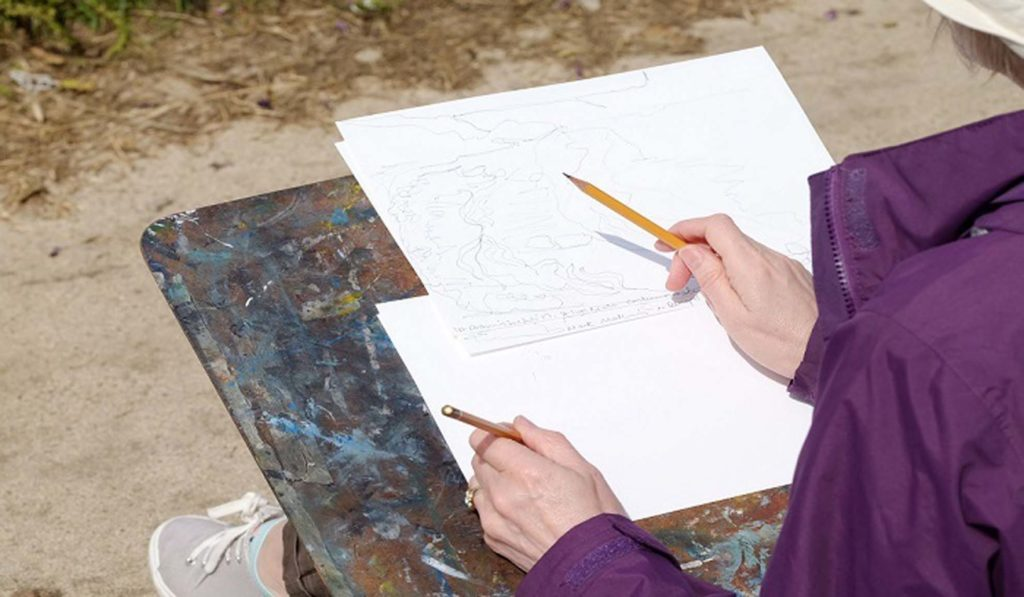 student drawing en plain air inspired by Turner
