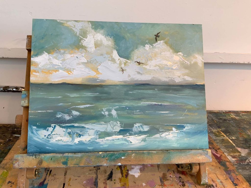 students oil painting of St Ives landscape with Gary Long